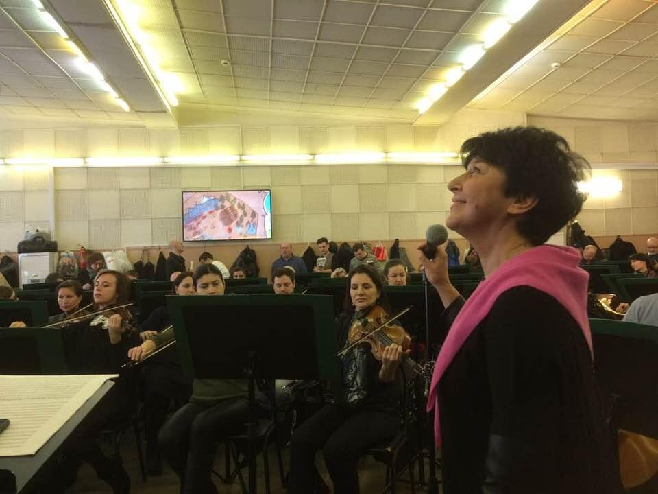 Марина Ланда и Сергей Васильев в концерте посвященном женщинам-композиторам в кинематографе. Репитиции.